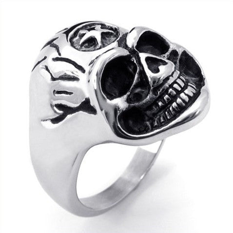 Smiling Five Pointed Star Silver Skull Ring