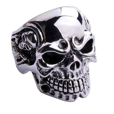 Large Skull Ring for Men - .925 Silver
