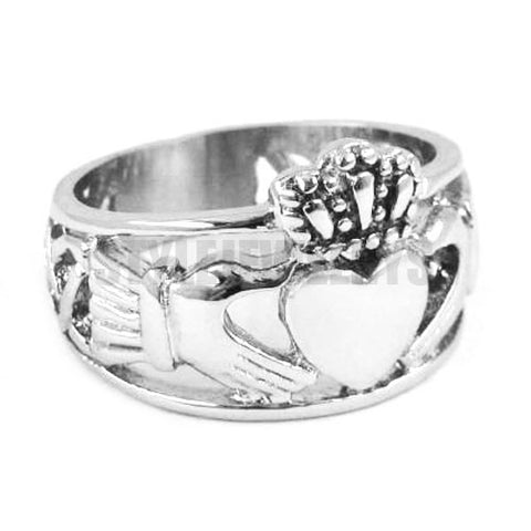 "Claddagh Style ""Hand to Hold a Heart"" with Crown Ring"