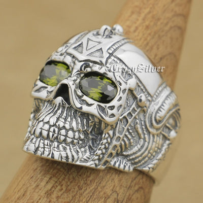 .925 Sterling Silver Olive Eyed Skull Ring