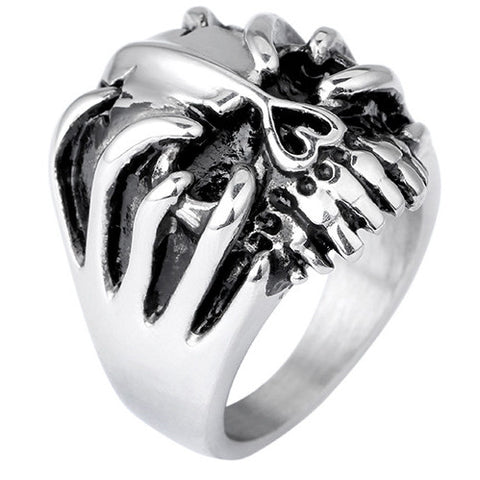 Silver Claw and Skull Ring