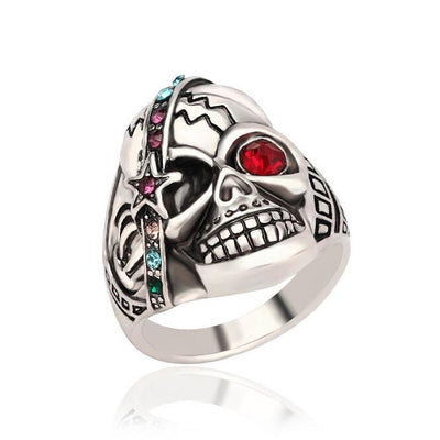 Cool Biker Skull Ring For Women - Unique Antique Silver and Red