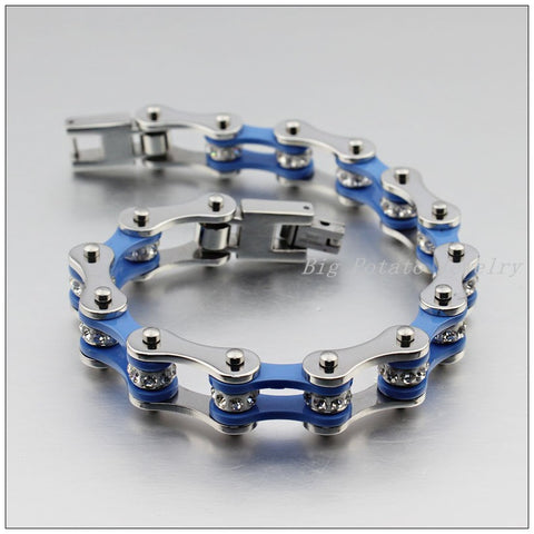 Stainless Steel Silver Blue Motorcycle Chain Bracelet