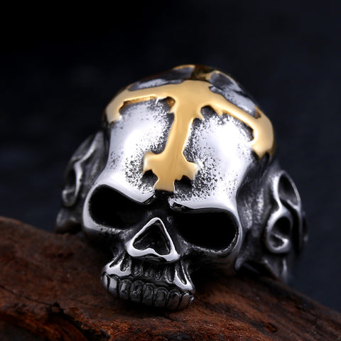 Gold Cross and Skull Ring