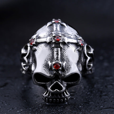 Red Stone Cross and Skull Ring