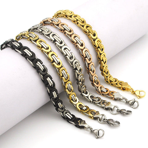 Flat Chain Link Stainless Steel Bracelets for Men and Women