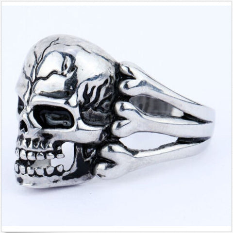 Gothic Men's Skull Flower Biker Ring