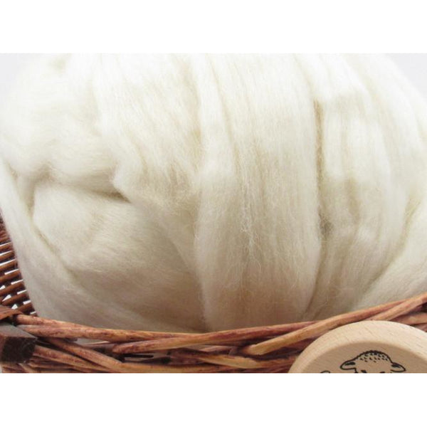 Cheviot Wool Top Roving - Undyed Natural Spinning Fiber / 1oz