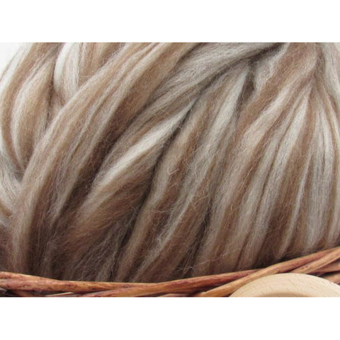 Mixed Shetland Wool Top Roving - Undyed Natural Spinning Fiber / 1oz