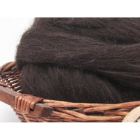 Black Welsh Wool Top Roving - Undyed Natural Spinning Fiber / 1oz