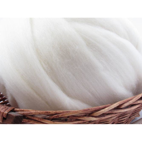 Bluefaced Leicester Wool Top Roving - Undyed Natural Spinning Fiber / 1oz