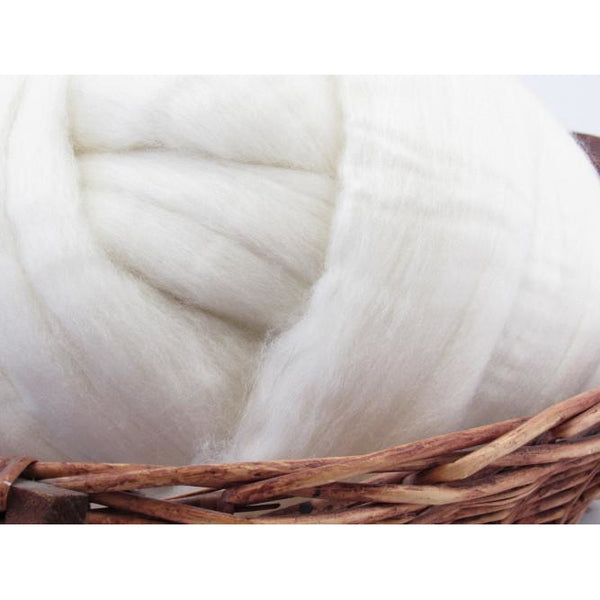 Merino Wool Top Roving 21 Micron - Undyed Natural Spinning Fiber / 1oz