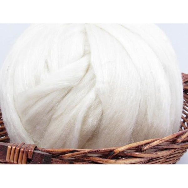 Blue Face Leicester and Tussah Silk Undyed Natural Spinning Fiber