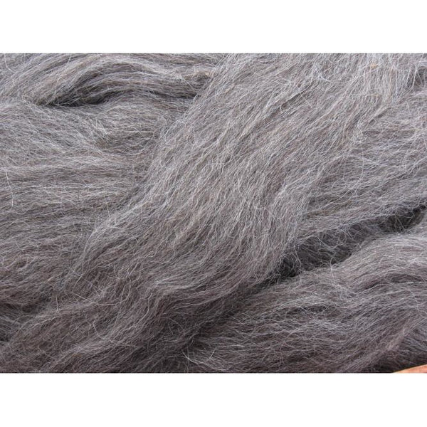 Grey Norwegian Wool Top Roving - Undyed Natural Spinning Fiber / 1oz