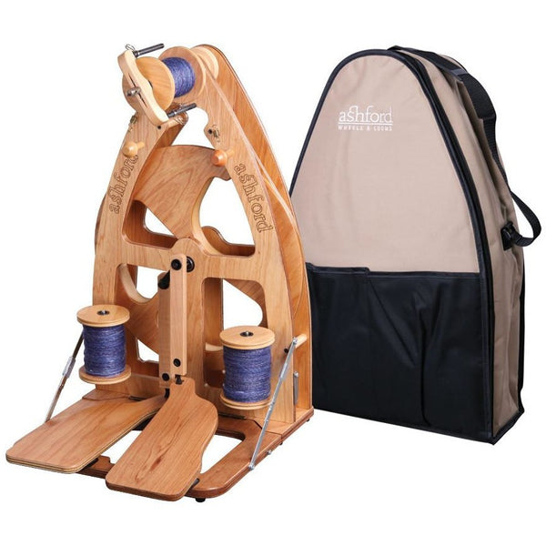 Ashford Joy-2 Spinning Wheel With Carry Bag - Double Treadle / Clear Finish