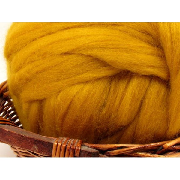 Dyed Corriedale Top / 1oz - Mustard