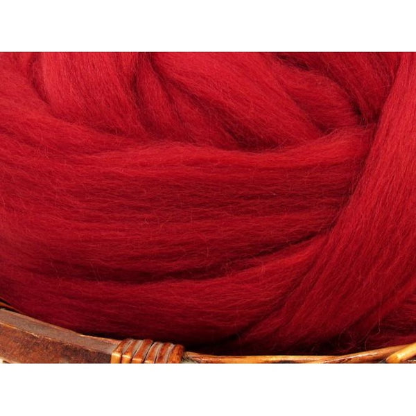 Dyed Corriedale Natural Spinning Fiber / 1oz - Ruby