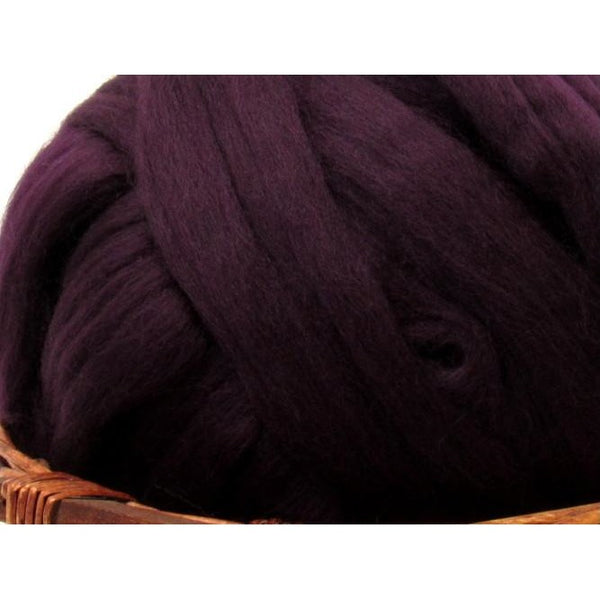 Dyed Corriedale Natural Spinning Fiber / 1oz - Aubergine