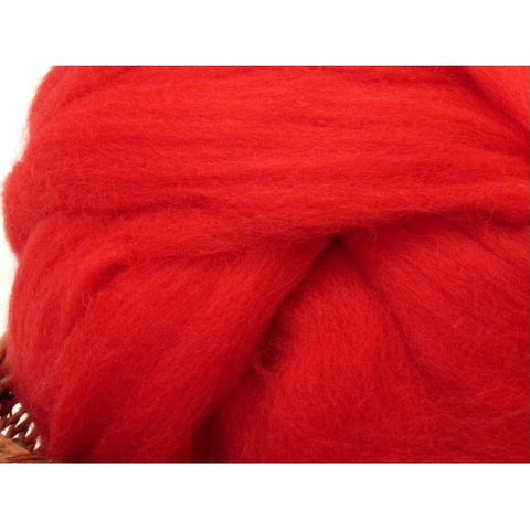 Dyed Shetland Natural Spinning Fiber / 1oz - Poppy