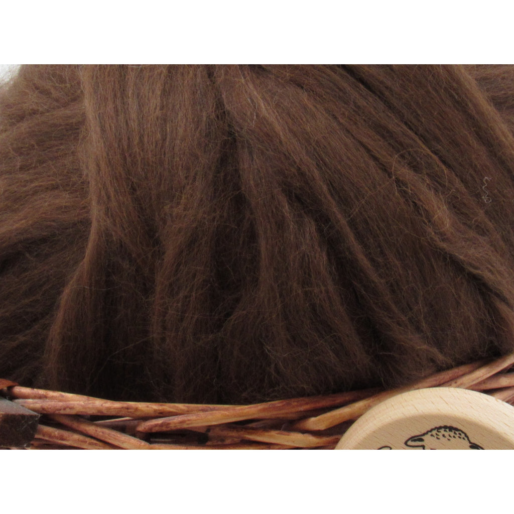 Dark Brown Baby Alpaca Top - Undyed Natural Spinning Fiber/ Roving - 1oz