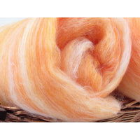 Orange Sherbert Spinning Batt Australian Merino and Tussah Silk Spinning Fiber