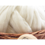 White Finnish Wool Top Roving - Undyed Natural Spinning Fiber / 1oz