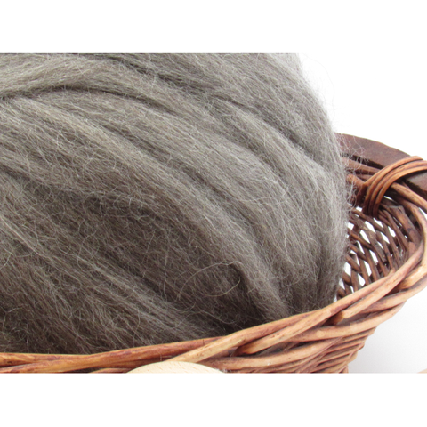 Grey Gotland Wool Top Roving - Undyed Natural Spinning Fiber / 1oz
