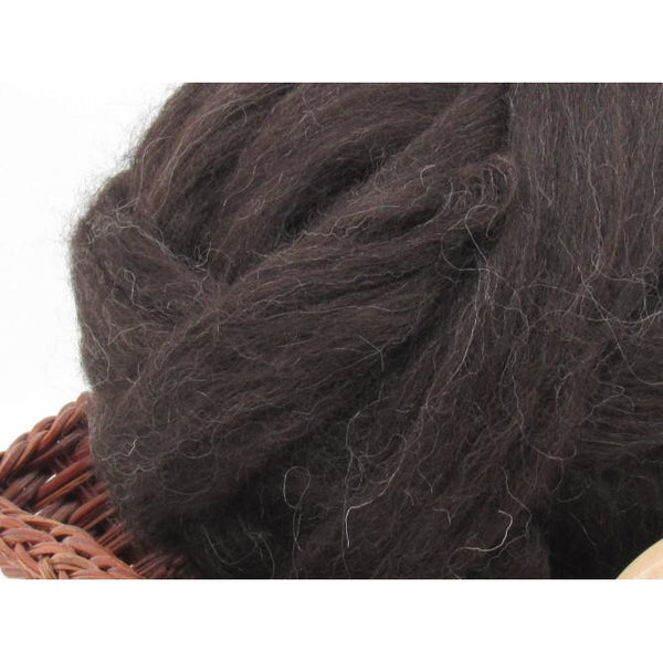 Black Finnish Wool Top Roving - Undyed Natural Spinning Fiber / 1oz