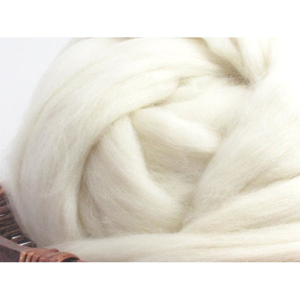 White Dorset Horn Wool Top Roving - Undyed Natural Spinning Fiber / 1oz
