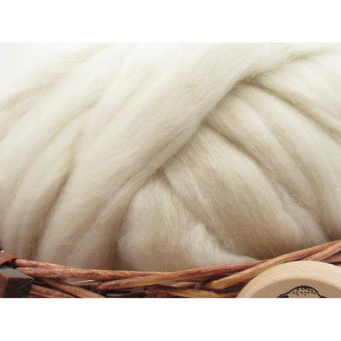 New Zealand Natural White Corriedale Wool Top Roving - Undyed Natural Spinning Fiber / 1oz