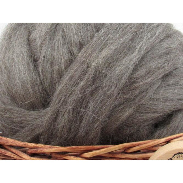 Dark Grey Masham Wool Top Roving - Undyed Natural Spinning Fiber / 1oz