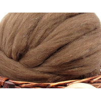 Brown Tasmanian Polwarth Carded Sliver - Undyed Natural Spinning Fiber / 1oz