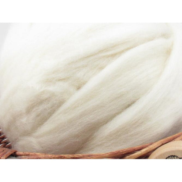 White Norwegian Wool Top Roving - Undyed Natural Spinning Fiber / 1oz