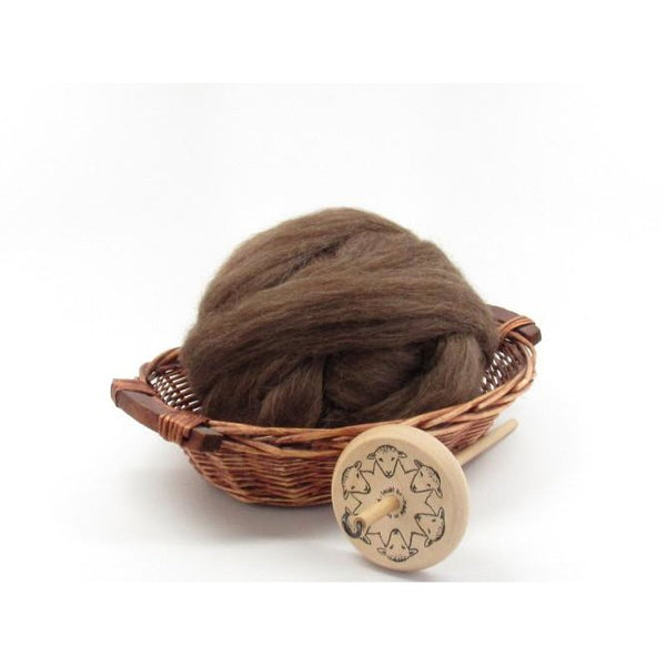 Brown Icelandic Wool Top Roving - Undyed Natural Spinning Fiber / 1oz