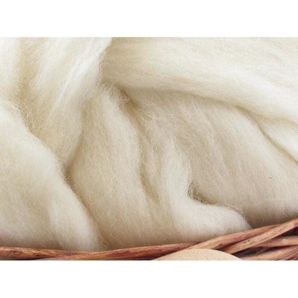 Charollais Wool - Undyed Natural Spinning Fiber / 1oz