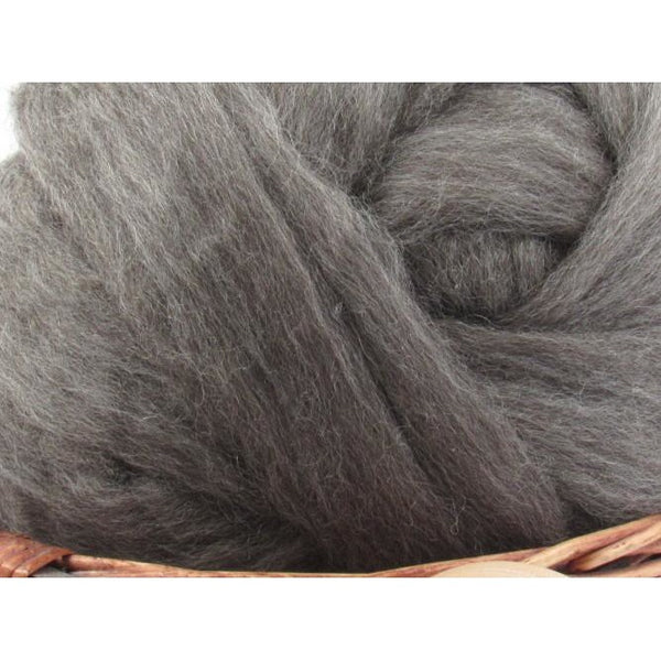 Grey Finnish Wool Top Roving - Undyed Natural Spinning Fiber / 1oz