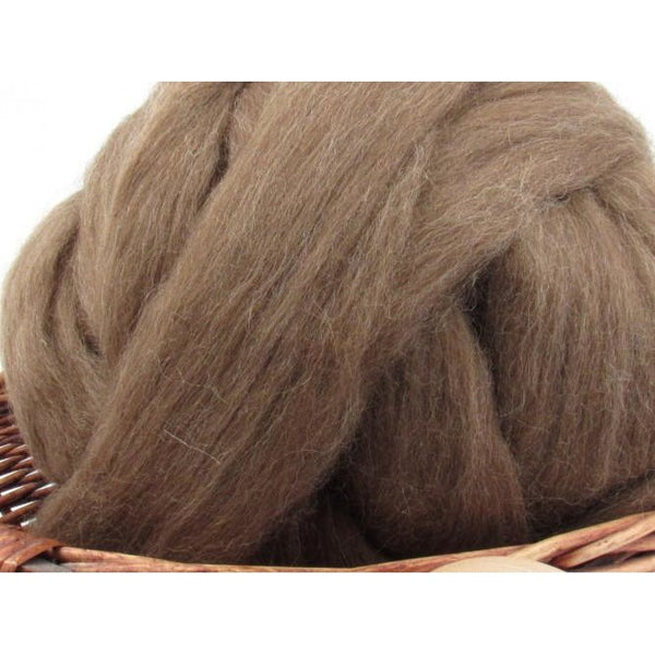 Brown Finnish Wool Top Roving - Undyed Natural Spinning Fiber / 1oz