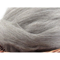 Grey Jacob Wool Top Roving - Undyed Spinning Fiber / 1oz