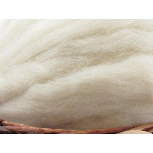 White Gotland Wool Top Roving - Undyed Natural Spinning Fiber / 1oz