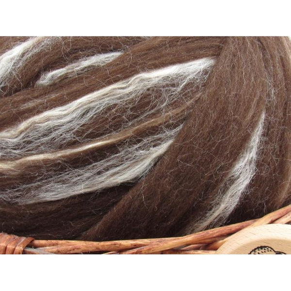 Brown Merino & Tussah Silk Wool Top - 1oz