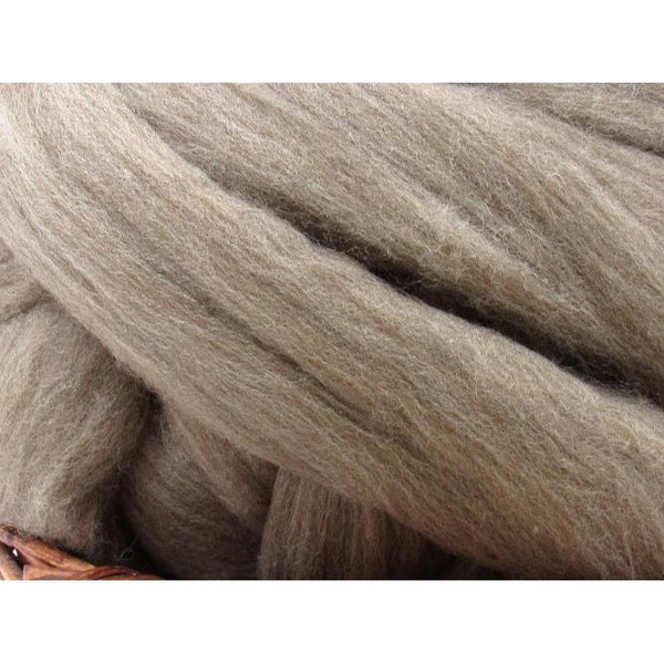 Light Brown Merino D' Arles Wool Top Roving - Undyed Natural Spinning Fiber / 1oz