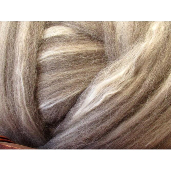 Grey Shetland & Extra Bleached Tussah Silk Top - 1oz