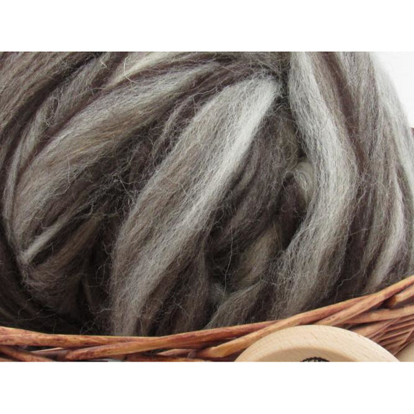 Mixed Jacob Wool Top Roving - Undyed Natural Spinning Fiber / 1oz