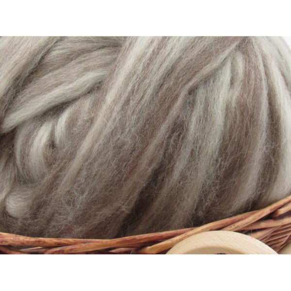 Mixed Bluefaced Leicester Wool Top Roving - Undyed Natural Spinning Fiber / 1oz