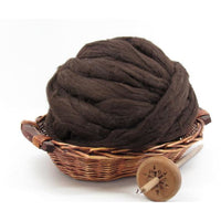 Dark Brown New Zealand Corriedale Wool Top Roving - Undyed Natural Spinning Fiber / 1oz