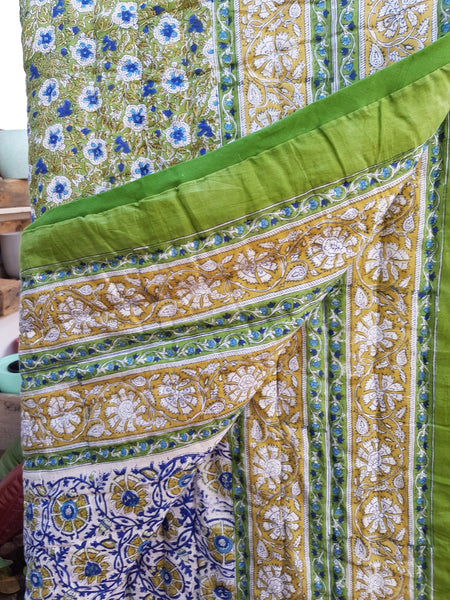 cotton quilt green multicolour