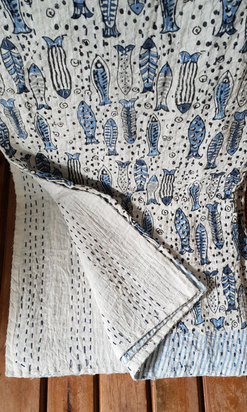 Blue Fish Kantha