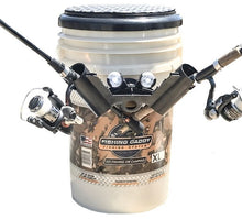 Fishing Bucket with fishing rod holders led lights and padded seat