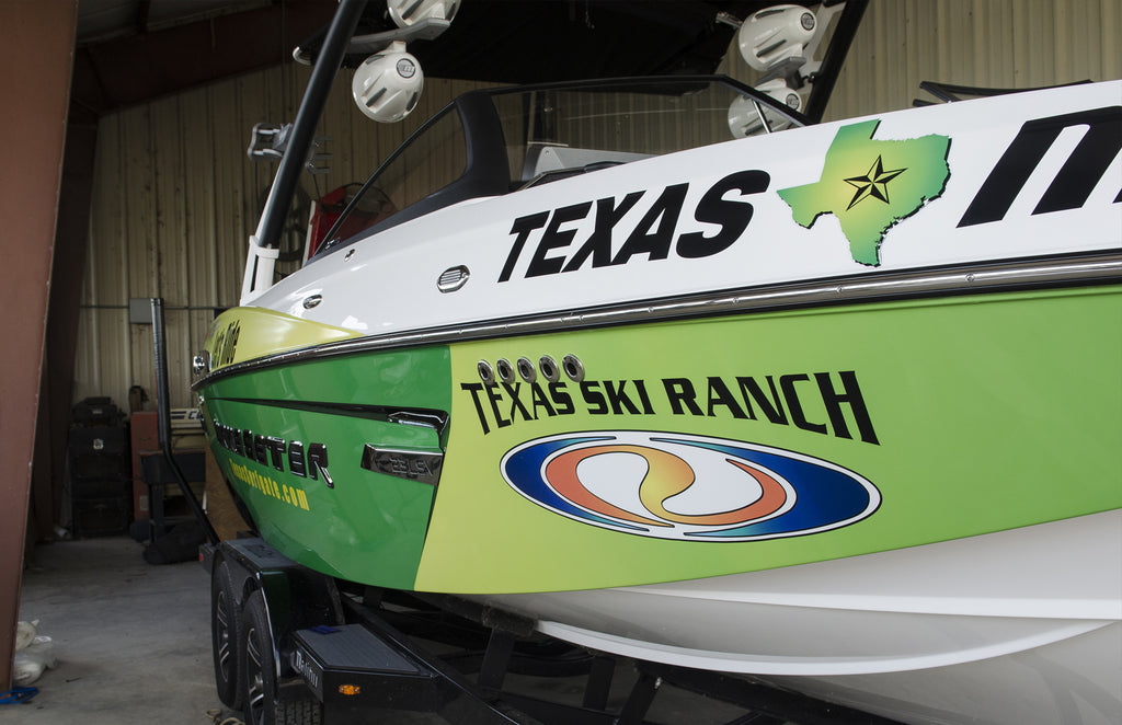 Custom Printed Vinyl Boat Wrap for TSR Texas Ski Ranch and Malibu Wakesetter 23LSV by Rockin Monkey Designs of San Antonio Bow View