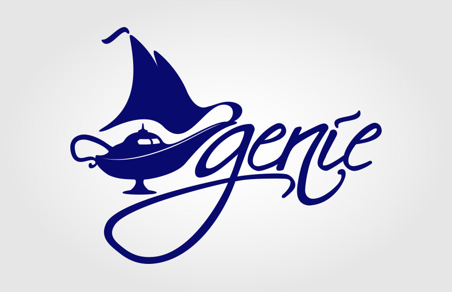 Genie Sailing Sailboat Sloop Lamp Smoke Sails Morphed Combination Logo by Rockin Monkey Designs of San Antonio